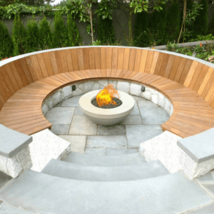 Fire Pit with wood surround